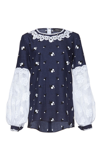 Medium andrew gn blue long sleeve floral top
