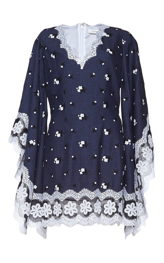 Medium andrew gn blue floral embroidered mini dress