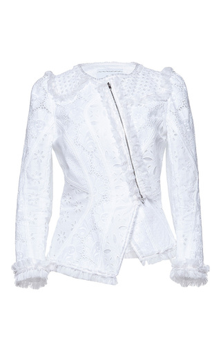 Medium andrew gn white fitted eyelet jacket