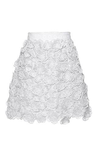 Medium andrew gn white floral embroidered mini skirt 2