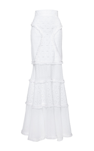Medium andrew gn white eyelet maxi skirt