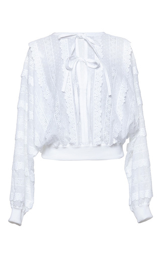 Medium andrew gn white tie front long sleeve top