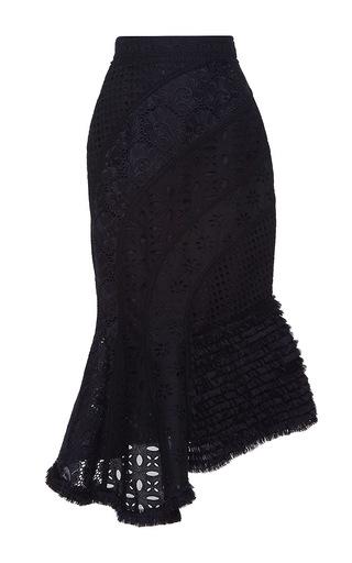 Medium andrew gn black asymmetrical eyelet skirt