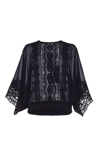 Medium andrew gn black embroidered flutter sleeve top