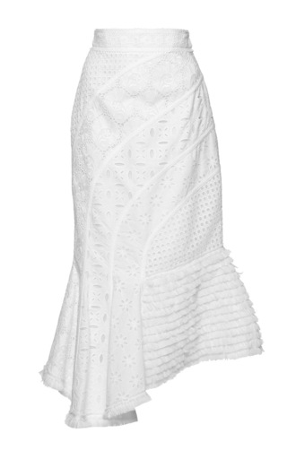 Medium andrew gn white asymmetrical eyelet skirt 2
