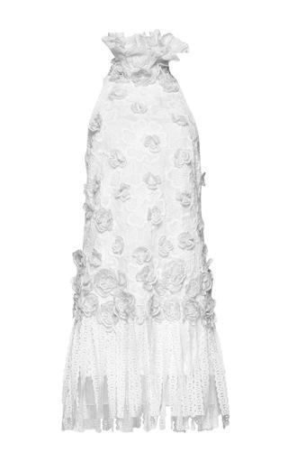 Medium andrew gn white ruffle neck sleeveless dress