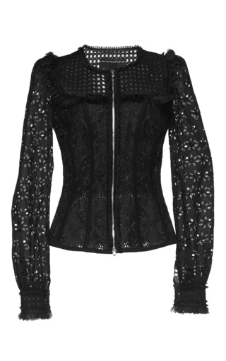 Medium andrew gn black fitted eyelet jacket 2