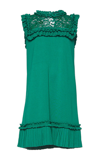 Medium andrew gn green sleeveless lace shift dress