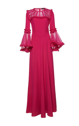 Medium andrew gn pink flared sleeve maxi dress