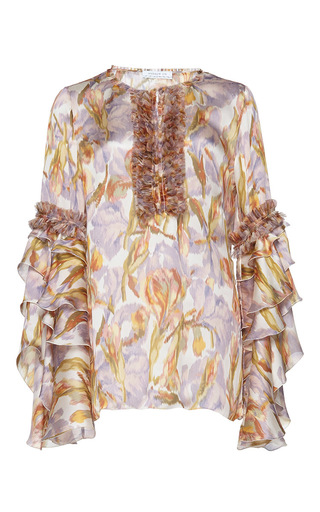 Medium andrew gn white printed long sleeve blouse