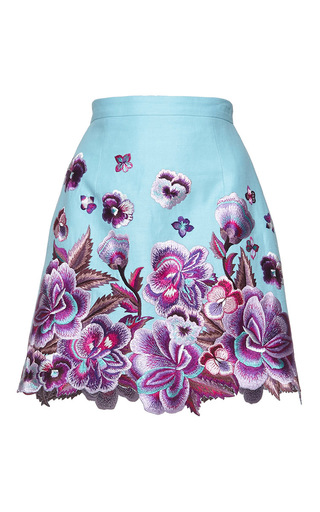 Medium andrew gn blue floral embroidered mini skirt 1