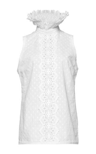 Medium andrew gn white high neck sleeveless top 2