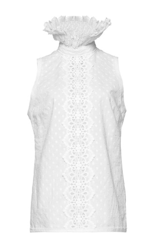 Medium andrew gn white high neck sleeveless top 2
