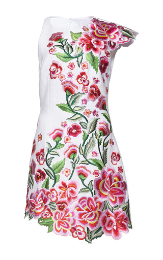 Medium andrew gn white cap sleeve floral dress