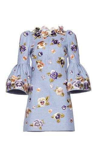 Medium andrew gn blue three quarter length sleeve mini dress