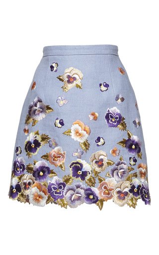 Medium andrew gn blue floral embroidered mini skirt 3