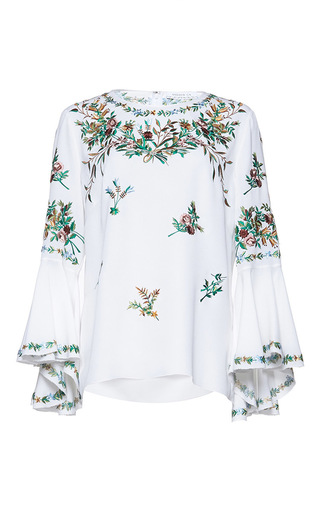 Medium andrew gn white flutter sleeve floral top