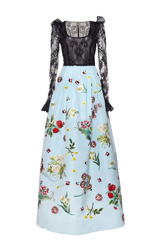 Medium andrew gn blue floral embroidered gown
