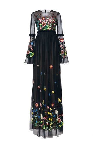 Medium andrew gn black floral long sleeve gown
