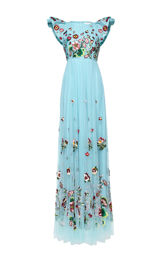 Medium andrew gn blue cap sleeve floral gown