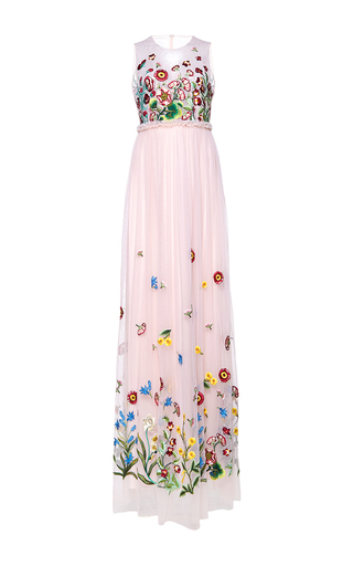 Medium andrew gn pink sleeveless floral gown