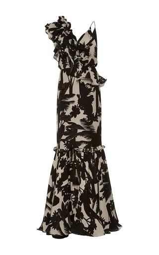 Medium johanna ortiz print tabatinga ruffled shoulder mermaid dress