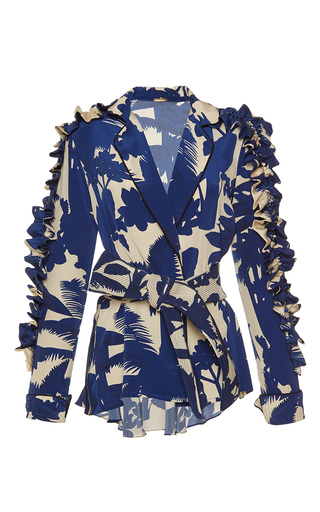 Medium johanna ortiz print tucan belted ruffle sleeve blazer