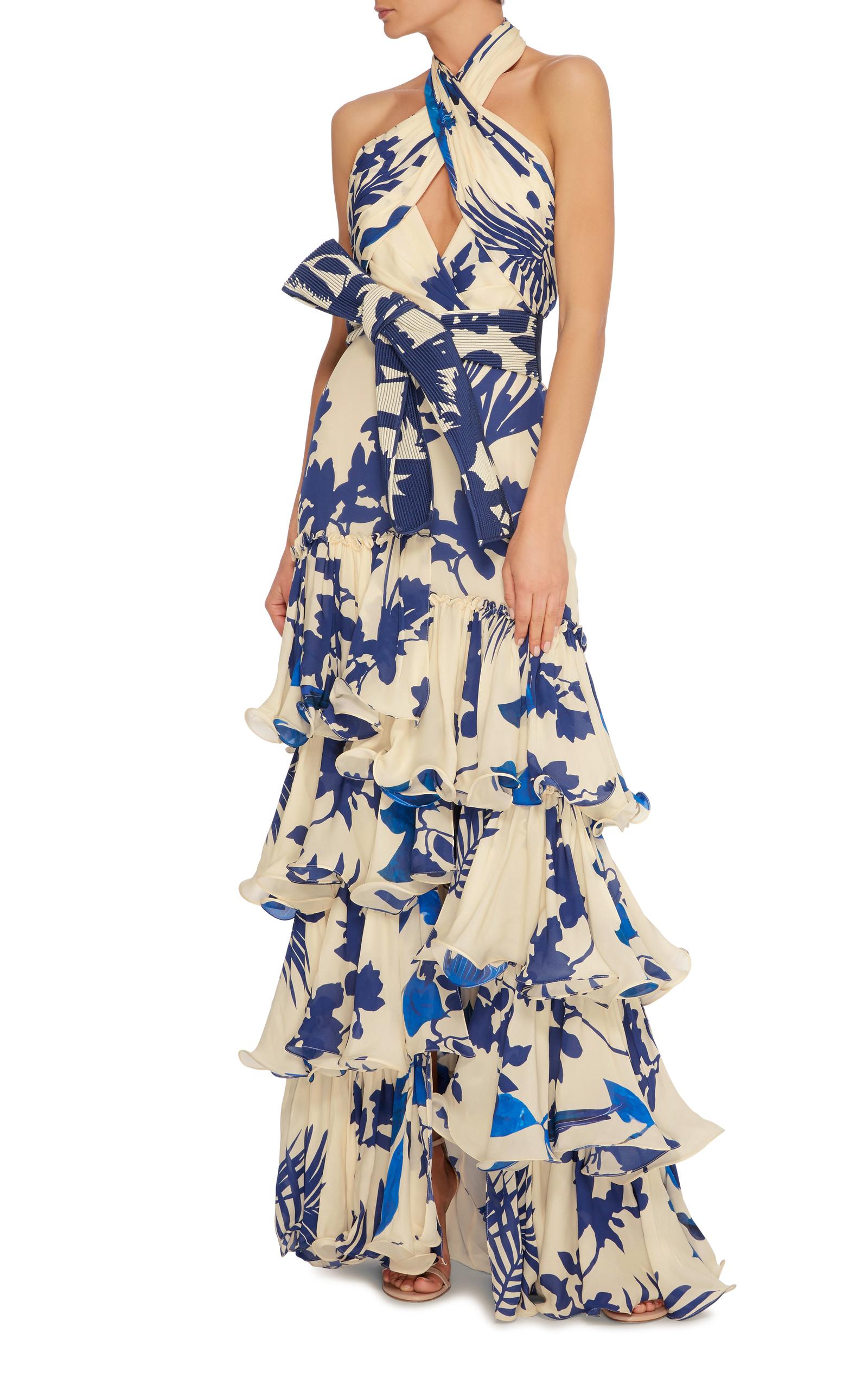 Magdalena Twist Halter Belted Dress By Johanna Ortiz
