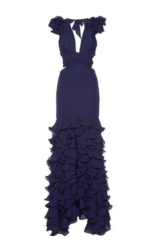 Medium johanna ortiz navy el encanto tiered ruffle long dress