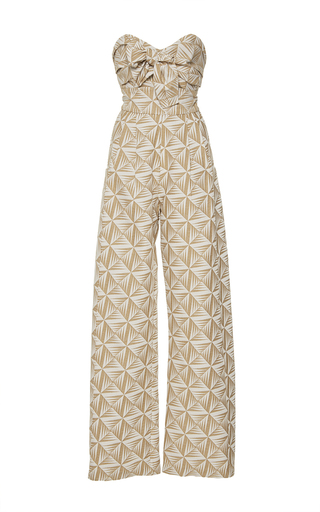 Medium johanna ortiz tan javari strapless jacquard jumpsuit