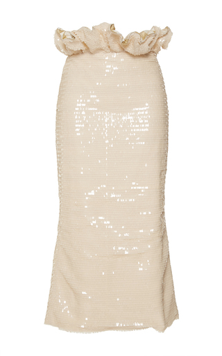 Medium johanna ortiz tan atacama sequin embellished pencil skirt