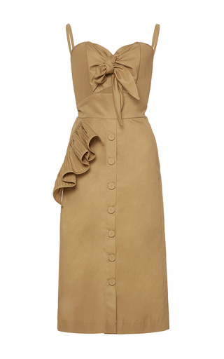 Medium johanna ortiz brown soledad bow front pencil dress
