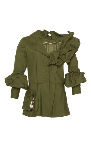 Medium johanna ortiz green paz embellished belted jacket