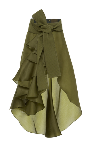 Medium johanna ortiz green paramo ruffled wrap skirt