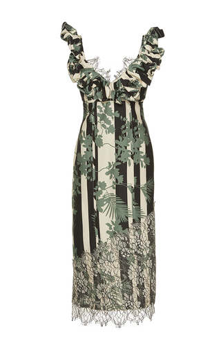 Medium johanna ortiz print choco ruffled scoop neck dress