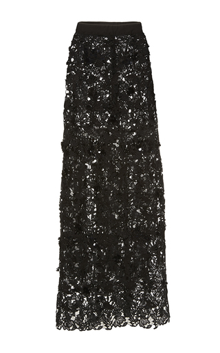 Medium johanna ortiz black cana embellished column skirt