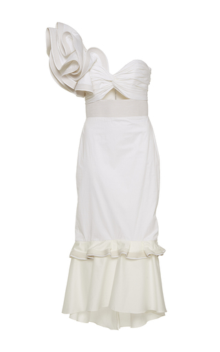 Medium johanna ortiz white maloka one shoulder fluted dress