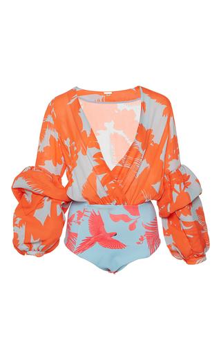 Medium johanna ortiz print pintada puff sleeve bodysuit