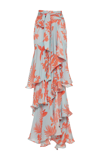 Medium johanna ortiz print costa pacifica tiered long skirt