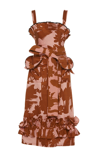 Medium johanna ortiz print chocoana pleated ruffle dress