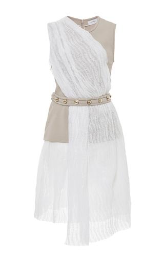 Medium carven multi shiny waves lace draped dress