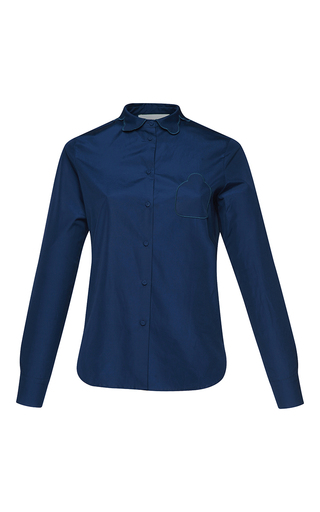 Medium parden s navy yan embroidered collar blouse
