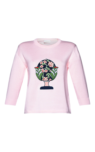Medium parden s pink ariela embroidered logo sweater