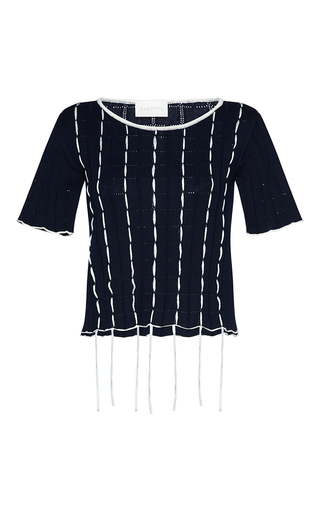 Medium parden s navy abira short sleeve fringe sweater