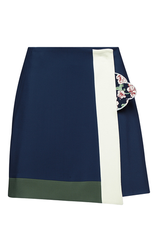 Medium parden s navy mabel navy wrap mini skirt