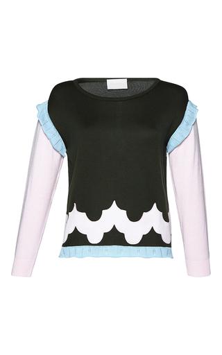 Medium parden s green uri ruffle trimmed sweater