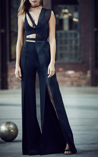 Medium mulhier black silk organza half vest