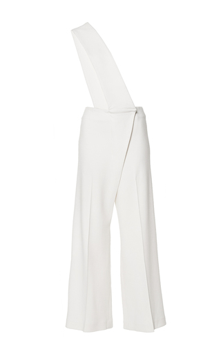 Medium mulhier white wool crepe cropped jumpsuit