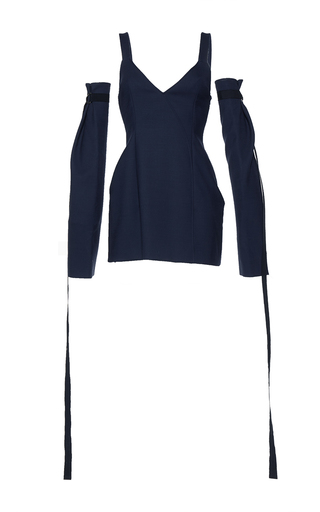 Medium mulhier navy detached sleeve v neck dress