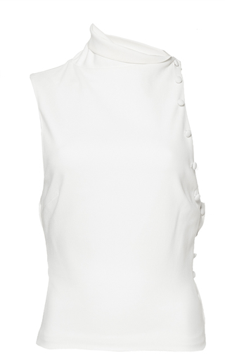 Medium mulhier white asymmetrical top